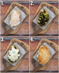 4 step by step photos showing how to make a broccoli sandwich