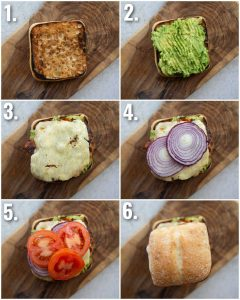 6 step by step photos showing how to make a cajun chicken sandwich