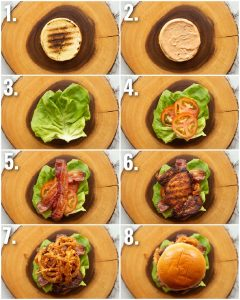 8 step by step photos showing how to make a grilled chicken sandwich