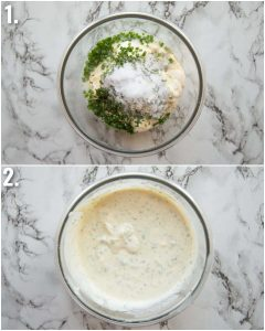 2 step by step photos showing how to make a creamy potato salad dressing