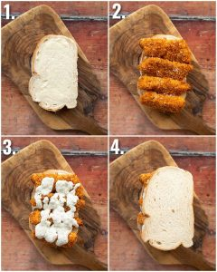 4 step by step photos showing how to make a fish finger sandwich