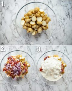 3 step by step photos showing how to make a potato salad