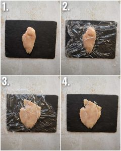 4 step by step photos showing how to pound chicken breast