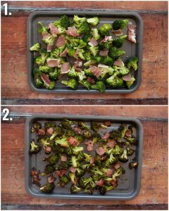 2 step by step photos showing how to roast broccoli