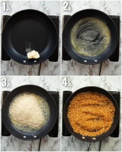 4 step by step photos showing how to toast panko breadcrumbs