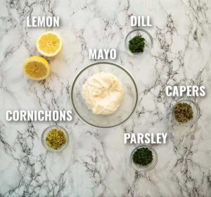 tartar sauce ingredients with labels