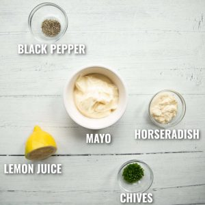 horseradish mayo ingredients with labels