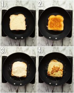 4 step by step photos showing how to cook croque monsieur