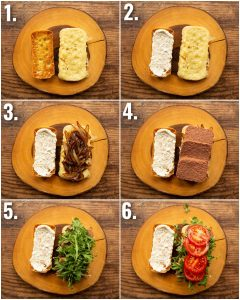 6 step by step photos showing how to make a corned beef sandwich
