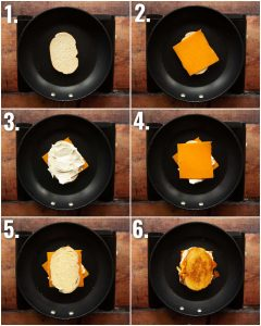 6 step by step photos showing how to make a cream cheese grilled cheese