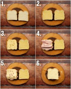6 step by step photos showing how to make a croque monsieur