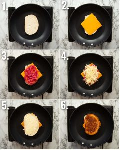 6 step by step photos showing how to make a pickled onion grilled cheese