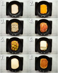 8 step by step photos showing how to make a tuna melt