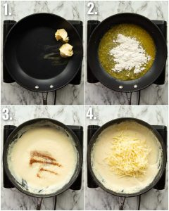 4 step by step photos showing how to make bechamel sauce for croque monsieur