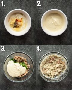 4 step by step photos showing how to make tuna mayo for tuna melt