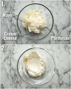 2 step by step photos showing how to prepare a cream cheese sandwich