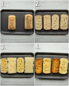 4 step by step photos showing how to toast ciabatta