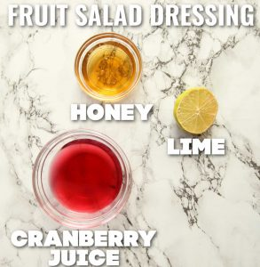 fruit salad dressing ingredients with text labels