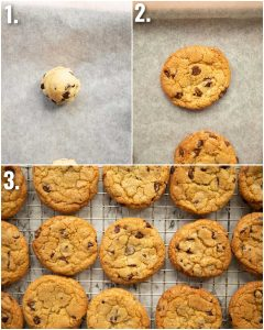 3 step by step photos showing how to bake chocolate chip cookies