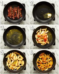 6 step by step photos showing how to caramelize apples