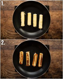 2 step by step photos showing how to cook grilled cheese roll ups
