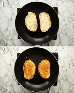 2 step by step photos showing how to cook nutella peanut butter sandwiches
