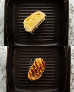 2 step by step photos showing how to grill bruschetta