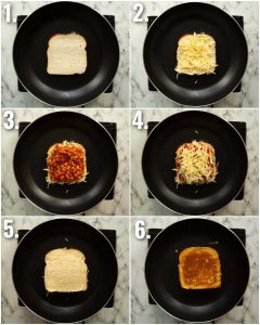 6 step by step photos showing how to make a baked bean sandwich