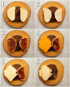 6 step by step photos showing how to make a cheese and marmite sandwich
