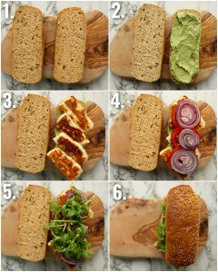6 step by step photos showing how to make a halloumi sandwich