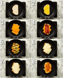 8 step by step photos showing how to make a pickle grilled cheese