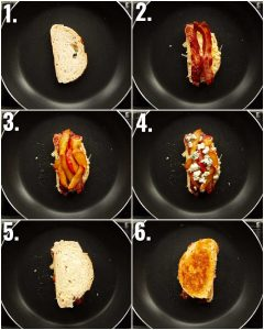 6 step by step photos showing how to make an apple grilled cheese