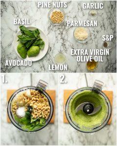 3 step by step photos showing how to make avocado pesto