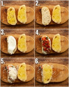 6 step by step photos showing how to make bruschetta grilled cheese sandwiches