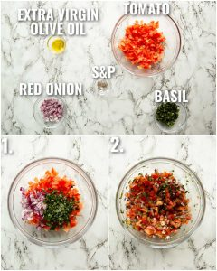 3 step by step photos showing how to make bruschetta topping