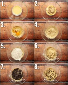 8 step by step photos showing how to make chocolate chip cookies