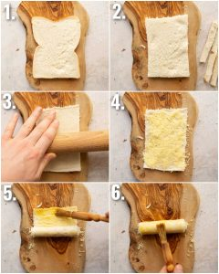 6 step by step photos showing how to make grilled cheese roll ups