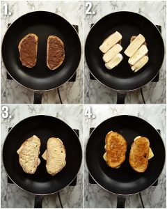 4 step by step photos showing how to make a Nutella grilled cheese