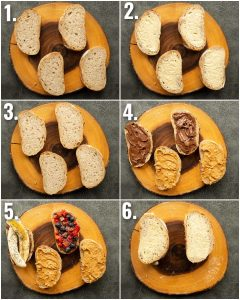 6 step by step photos showing how to make nutella peanut butter sandwiches