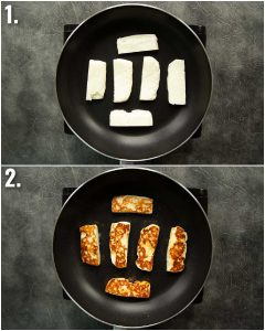 2 step by step photos showing how to pan fry halloumi