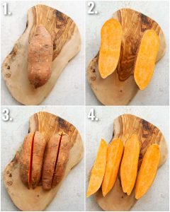 4 step by step photos showing how to prepare sweet potato wedges