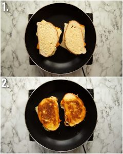 2 step by step photos showing how to toast a marmite sandwich