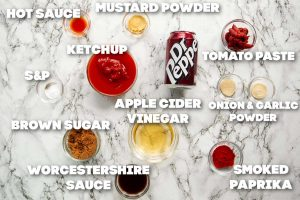 overhead shot of dr pepper bbq sauce ingredients with text overlay