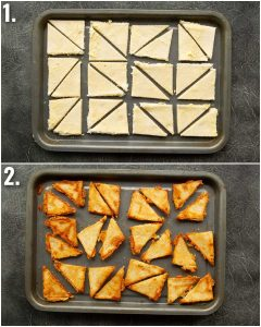 2 step by step photos showing how to bake grilled cheese chips