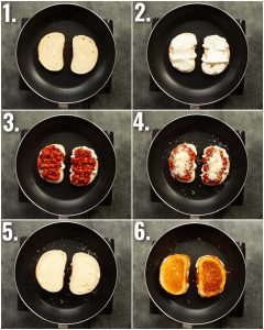 6 step by step photos showing how to make a sausage grilled cheese