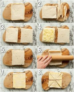 8 step by step photos showing how to make grilled cheese chips