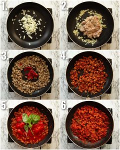 6 step by step photos showing how to make a sausage ragu