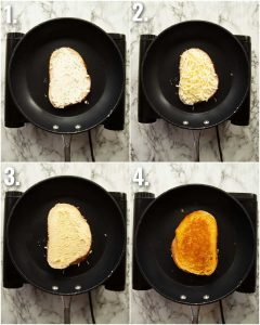 4 step by step photos showing how to make boursin grilled cheese