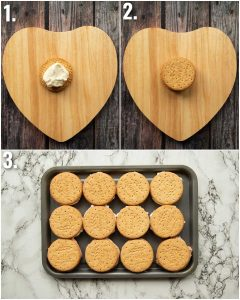3 step by step photos showing how to make cheesecake sandwiches