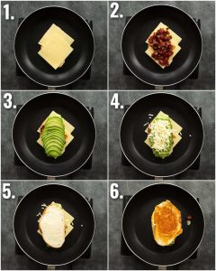 6 step by step photos showing how to make chorizo grilled cheese